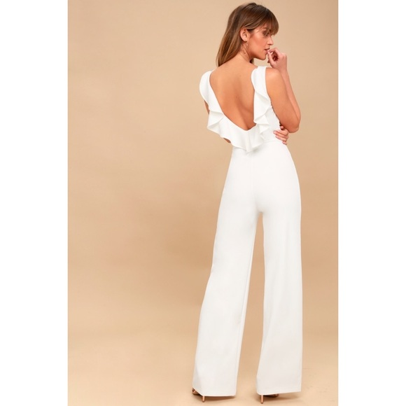 990ae2f8111 Lulus Enamored White Backless Jumpsuit